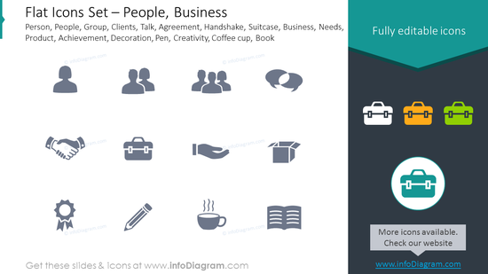 Flat Icons: Clients, Agreement, Suitcase, Business,Achievement, Decoration