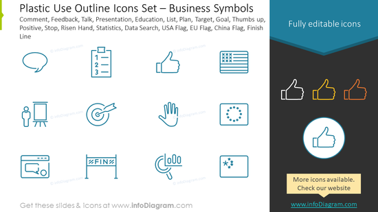 Outline style icons set: comment, feedback, talk, presentation