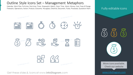 Outline icons set: calendar, work Plan, full-time, part-time