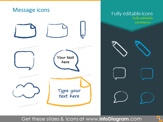 Charcoal message icons