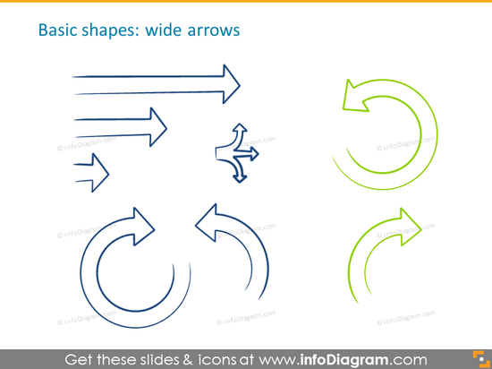 Handdrawn wide arrows example