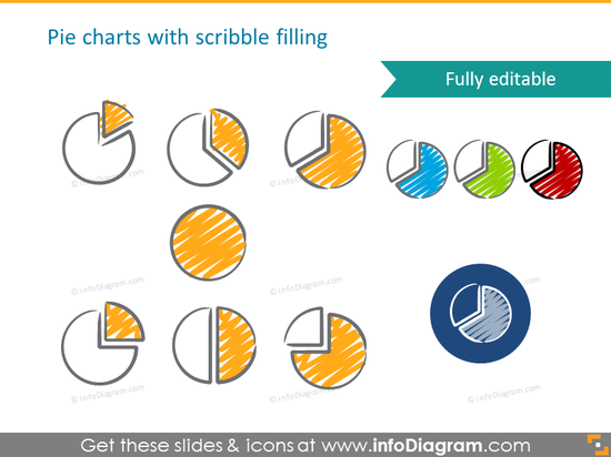 Pie charts with scribble filling