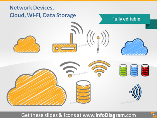 cloud wifi network router database hand drawn clip art