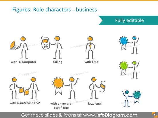 avatar scribble handwritten business roles pictograms ppt clip art