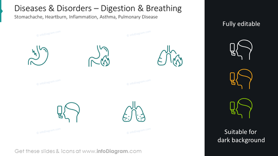 Diseases and disorders slide: digestion and breathing stomachache, heartbu…