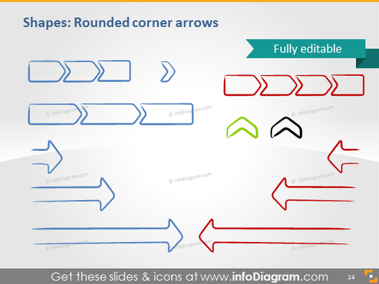 Rounded arrow chevron sketch handdrawn powerpoint shape
