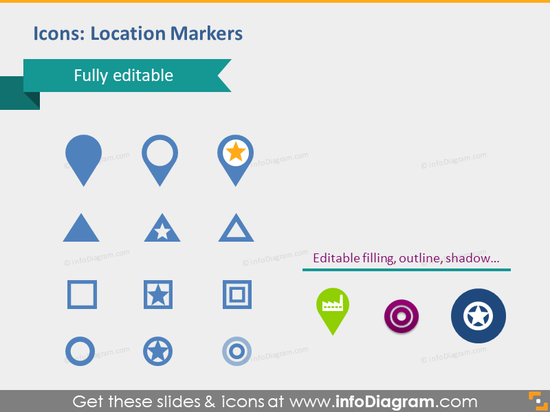 location map position place markers star pins pptx cliparts