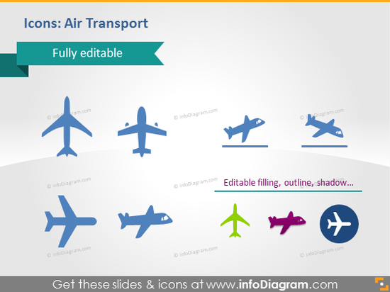 Air plane flights transport icons powerpoint clip art