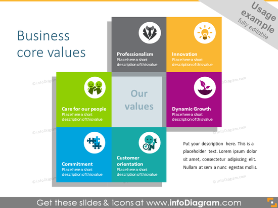Core business values: two intersected squares