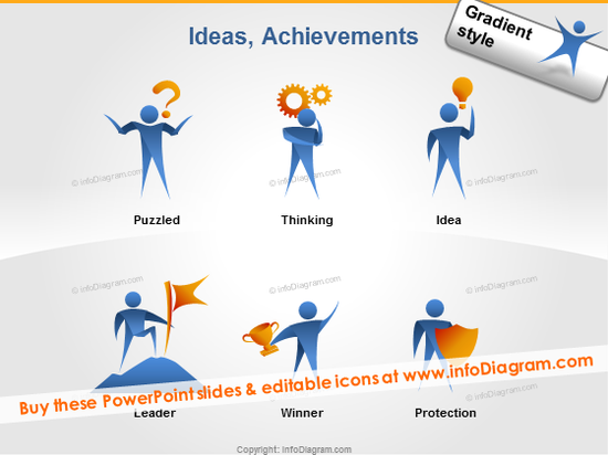 thinking man icon puzzled idea bulb leader clipart ppt