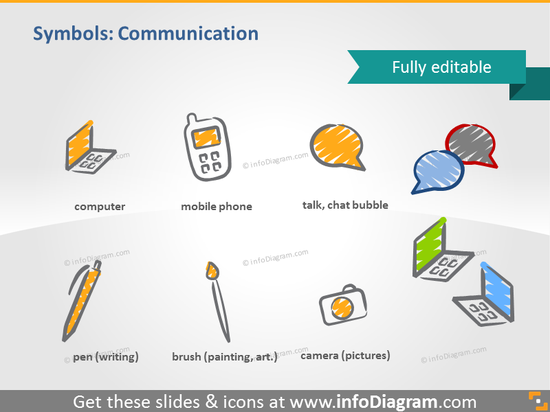 scribble communication chat symbols handwritten pictograms icons ppt clipa…