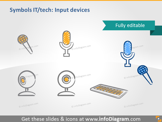 microphone webcam keyboard doodle icon ppt