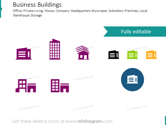 Office Building and Private House icons set