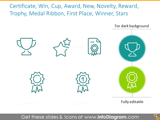 Example of the icons intended to show achievements of the company