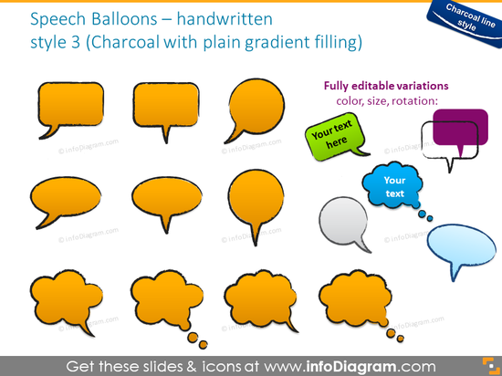 chat balloons handwritten charcoal doodle shape ppt icons