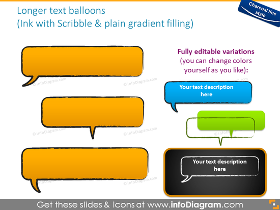 text balloons handdrawn charcoal sketch message powerpoint