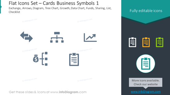 Flat icons set: cards, business symbols, exchange, arrows