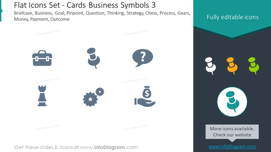 Flat icons set: cards, business symbols, Briefcase, business