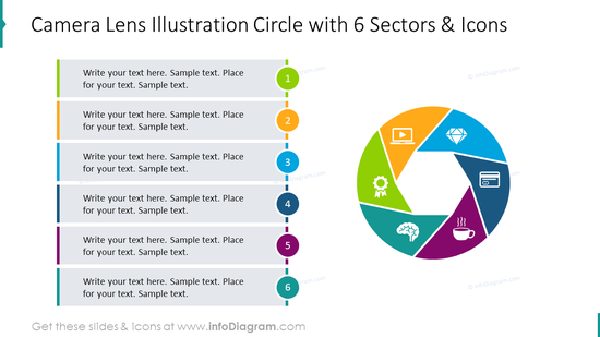 Camera lens illustration circle with 6 sectors and icons