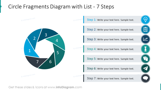 Circle fragments diagram placing list of 5 items with flat icons