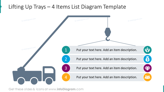 4 items list diagram with lifting up trays with a place for description