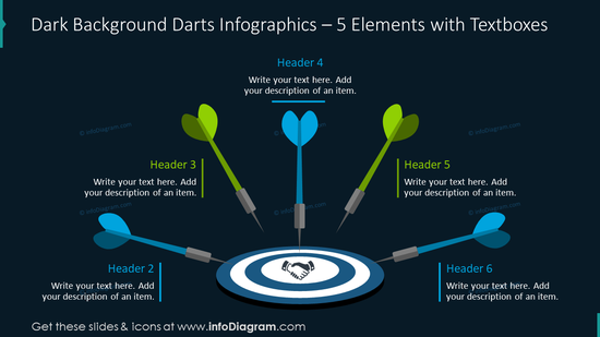 Dark background darts infographics for five elements