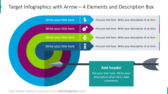 Target infographics with arrow for four elements