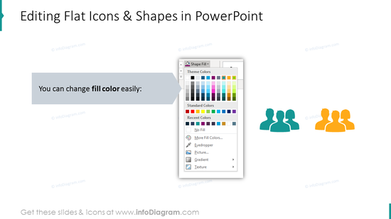 Editability of flat icons and shapes in filter process diagrams