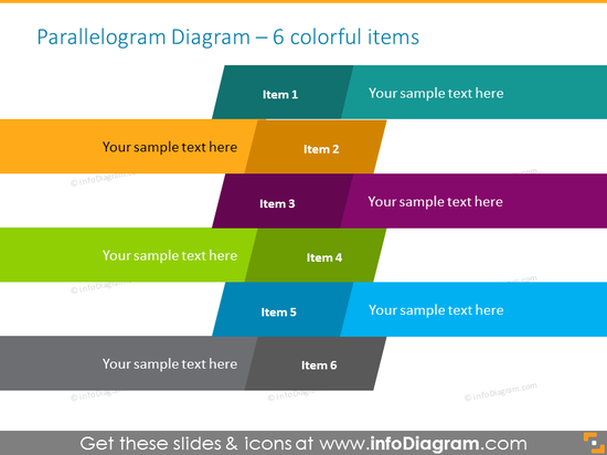 Parallelogram infographics template  for 6 steps or stages