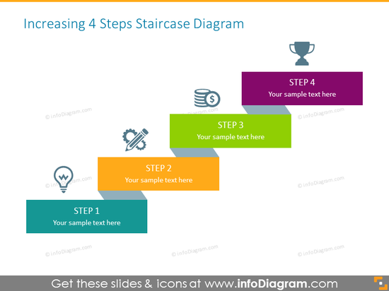 Stairs Diagram consisting of 4 Steps with Icons