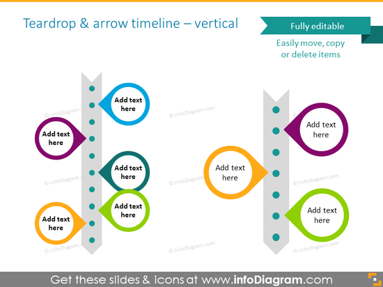 project timeline template with teardrops and milestones and arrow