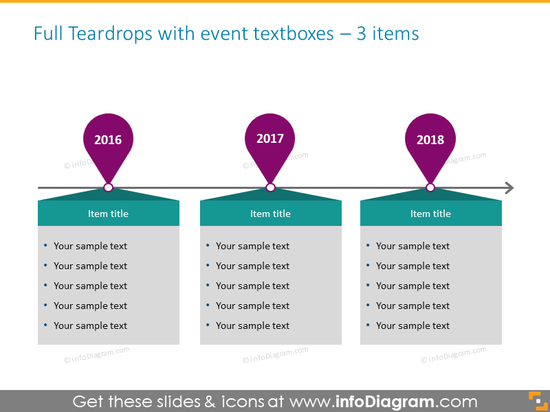 timeline infographic template in powerpoint for 3 elements