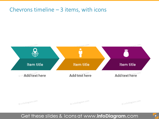 timeline infographics template for 3 items with icons