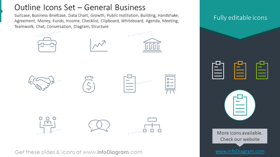 Outline icons set: general business suitcase, business