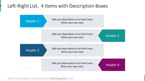Left-right list for 4 items with description boxes