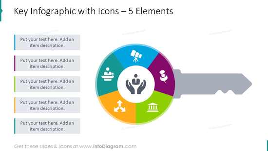Key infographics slide for 5 elements illustrated with flat icons