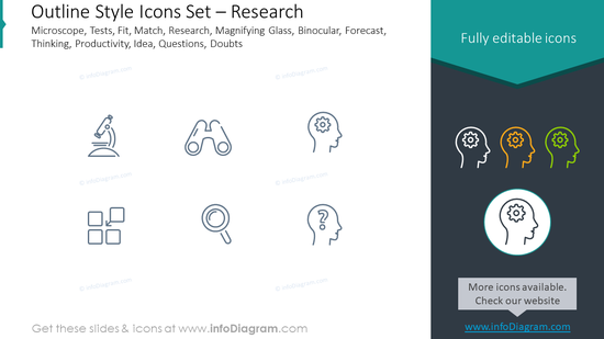 Outline icons set: microscope, tests, fit, match,research