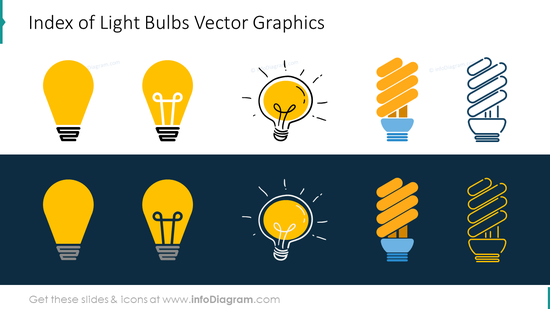 Index of light bulbs vector graphics