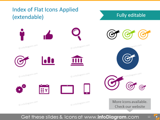 Index of Flat Icons for Diagrams Lists Circles