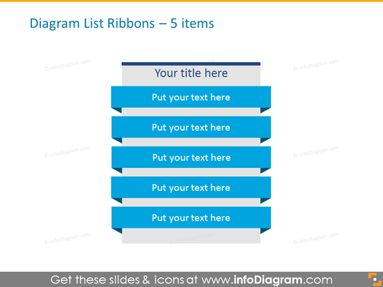 Diagram List Ribbons for placing 5 items