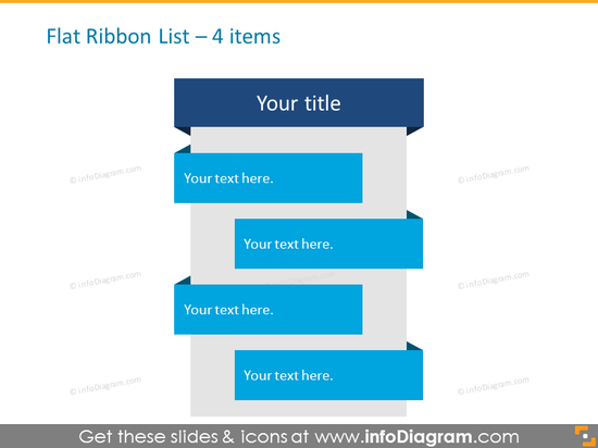 Flat Ribbon List for placing 4 items