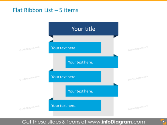 Flat Ribbon List for placing 5 items