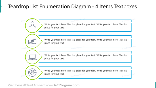 Teardrop list enumeration diagram for four items