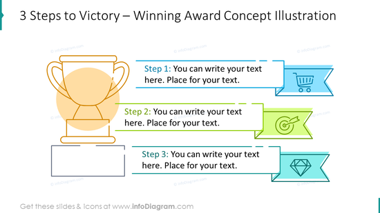 Three steps to victory: winning award concept illustration