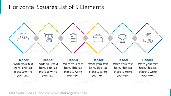 Horizontal hexagon list of six elements