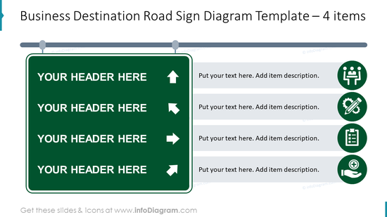 Business destination road sign diagram