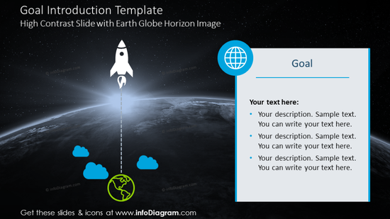 Goal introduction slide with rocket launch graphics and description