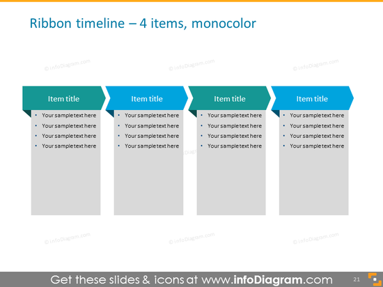 ribbon list timeline for powerpoint 4 items