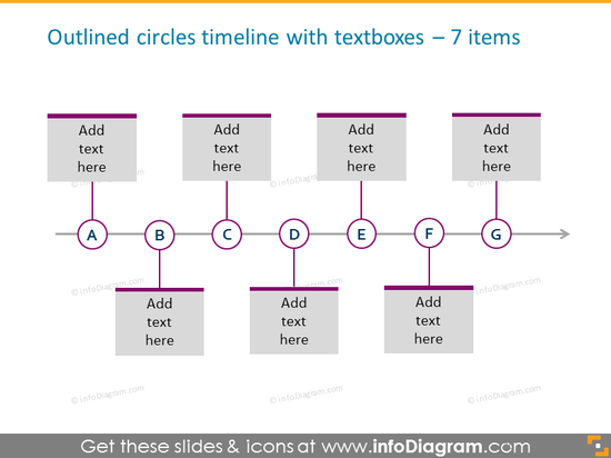 outlined circles timeline template   for 7 elements