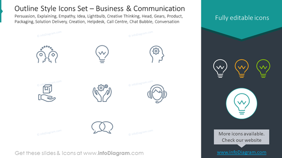 Outline icons set: business communication, persuasion, explaining